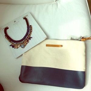 👝Topshop blue necklace and boho bag/clutch set👝